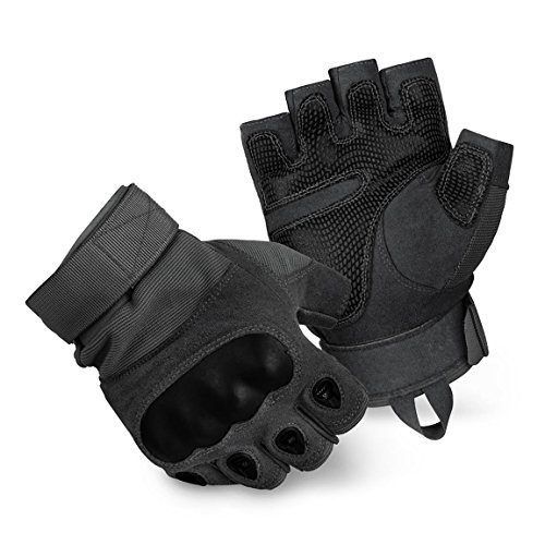 BlackSnake® Tactical Paintball Halbfinger Handschuhe mit Knöchelschutz und Belüftungssystem - L - Black