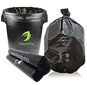 NaturePac Garbage Bags Biodegradable For Kitchen,Office,Medium Size (48cmX56cm/(19 Inchx22 Inch),90 Bags).(Black)