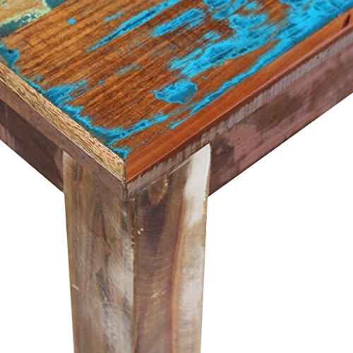 Festnight Retro-Stil Holzbank Sitzbank Ruhebank aus Recyceltes Massivholz Multifunktional Massivholzbank 160 x 35 x 46 cm - 8