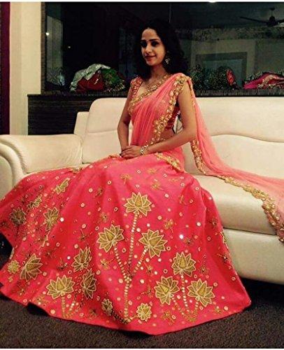 NV Trendz Women\'s Pink Embroidered Banglori Silk Lehenga For Women