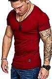 Amaci&Sons Oversize Herren Vintage T-Shirt V-Neck Basic V-Ausschnitt Shirt 6006 Bordeaux XL