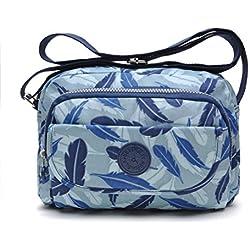 tuokener Bolso de Mujer Bandolera Bolsillos Impermeable Bolsos Pequeños Bandoleras Bolsa para Viaje Crossbody Bag Nylon Waterproof,azul claro