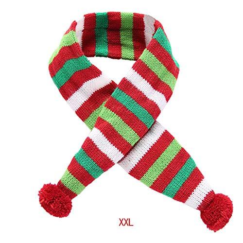 Naisicatar Weihnachten Pet Schal-Kragen-Feiertags-Rot-Weiß-Grün gestreifter Schal Hund Zubehör (XXL) - Dc Grünen Hut