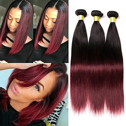 Dai Weier Brazilian Hair 3 Bundles Red Straight Two 2 Tone Ombre...