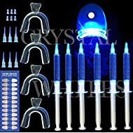 CRYSTAL WHITES 5 Gel Teeth Whitening Pro Home Kit Contains Lazer Light And 4 X Mouth Trays Professional Teeth Bleach