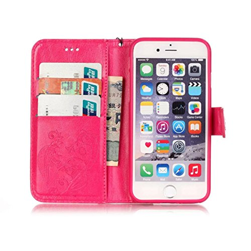 iPhone Case Cover Premium PU Housse en cuir Housse Folio Flip Stand Case Embossing Fleur pour iPhone 6S Plus 5.5 pouces ( Color : Pink , Size : IPhone 6S Plus ) Rose