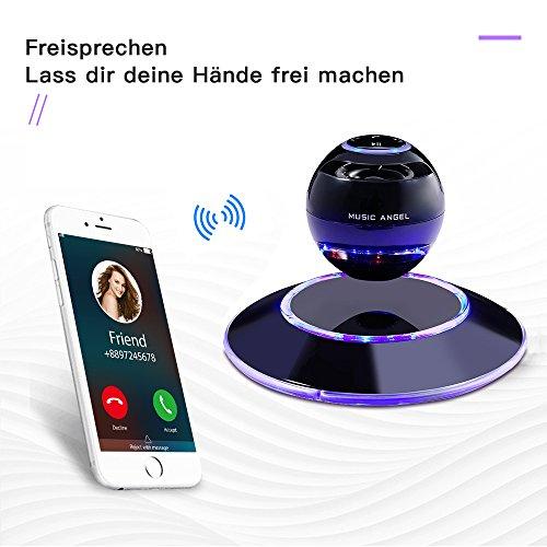 MUSIC ANGEL 360 Grad Lautsprecher mit Magnetschwebe mit Bluetooth 4.0 Multifarben LED kabellos, schwarz - 4
