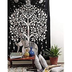 Ramdev Wandteppich, Elefantenbaum, Wandbehang, Wandbehang, Bohemianischer Tapisserie, Hippie-Stil, indischer Stil, 137 x 213,4 cm, Schwarz/Weiß