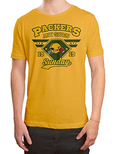 any Given Sunday Packers Premium T-Shirt | American Football | An Jedem Verdammten Sonntag | Super Bowl | Herren | Shirt Gelb (Gold L190)