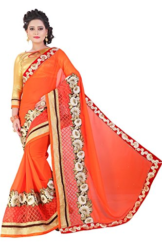SareeShop Orange Color Lycra & Net Embroidered Party Wear Saree with Blouse Piece-ANJALIORANGE-01_1  available at amazon for Rs.999
