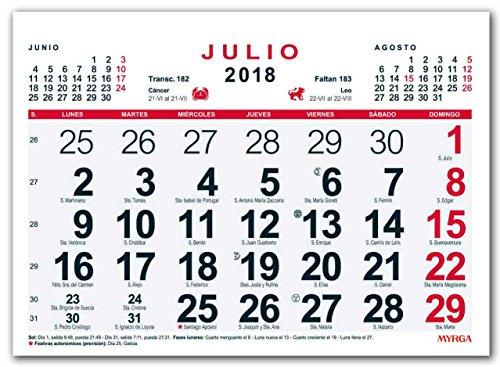 Calendario In Spagnolo.Myrga Calendario Da Parete Del 2018 In Spagnolo 21x15 Cm