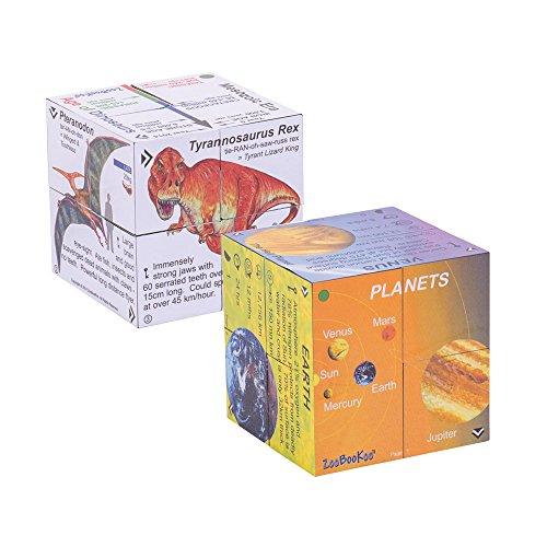 ZooBooKoo Wissenschaften Cubebook - ausklappbare Würfel Dinos + Planeten (Englische Sprachausgabe)