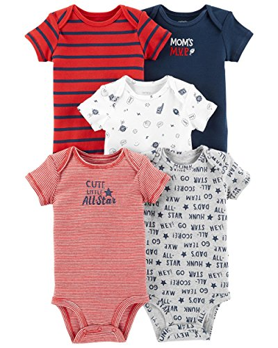 Carter's Baby Boys 5 Pack Bodysuit Set, All Star, 3 Months (Baby Boy Carters)