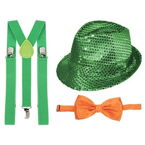 St Patricks Tag Grün Paillette Fedora, grün Hosenträger & Orange (Patricks Hosenträger Tag St)