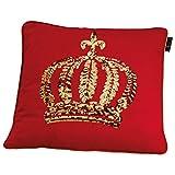 GLÖÖCKLER by KBT Bettwaren 4001626021680 Zierkissen Gefüllt mit goldener Pailletten Krone, 50 x 50 cm, rot