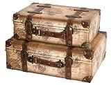 Vintiquewise TM Alte Weltkarte Leder Vintage Style Koffer mit Riemen, 2er Set