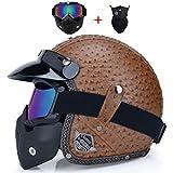 Qianliuk MotorradHelme offen mit halber PU-Lederhelm Vintage Motorrad-Kopfbedeckung