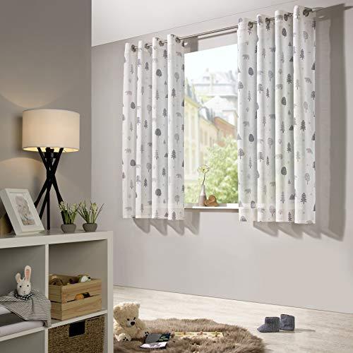 Heimtexland ® - tenda per cameretta dei bambini, in lino, con motivo a orsetto, stile scandinavo, colore grigio, poliestere, bianco - grigio, hxb 175x135 cm mit Ösen