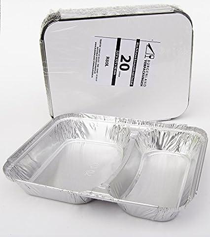 20 Alu - Menüschalen mit kaschiertem Kartondeckel • 2-geteilt • FLACH • stabile Alumenüschale • Alu-Menüschale • Menüteller • Alubehälter • Aluminiumschalen (2-geteilt FLACH mit K-Deckel)