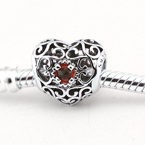Pierre porte-bonheur Cœur Charms Bracelets Pandora avec argent sterling 925 Garnet Red