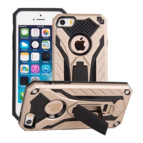 DaYiYang Dual Layer PC + TPU Back Cover Neue stilvolle Hybrid Armor Schutzhülle Shockproof mit Kickstand für [Shock Absorbtion] für iPhone 5s & SE ( Color : Rosegold ) Gold