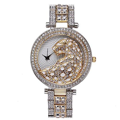 Sheli grande Ladies anamial Pattern 2Tone acciaio inossidabile quarzo Dress Watch