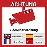Aufkleber Videoüberwacht mehrsprachig | 15*15cm | Hochwertig mit UV-Schutz, 5 Sprachen, Schilder Videoüberwachung