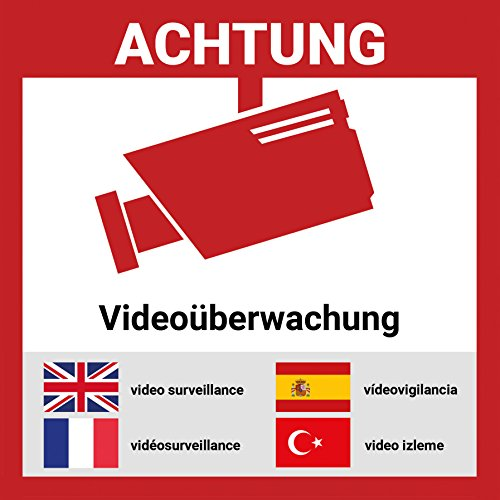 Aufkleber Videoüberwacht mehrsprachig   9*9cm   Hochwertig mit UV-Schutz, 5 Sprachen, Schilder...