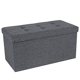 SONGMICS Sitzhocker Sitzbank 80 L faltbar Sitztruhe belastbar bis 300 kg 76 x 38 x 38 cm Hellgrau LSF47K
