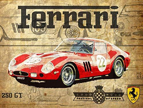 Ferrari 250GT Car Póster Pared Metal Creativo Placa