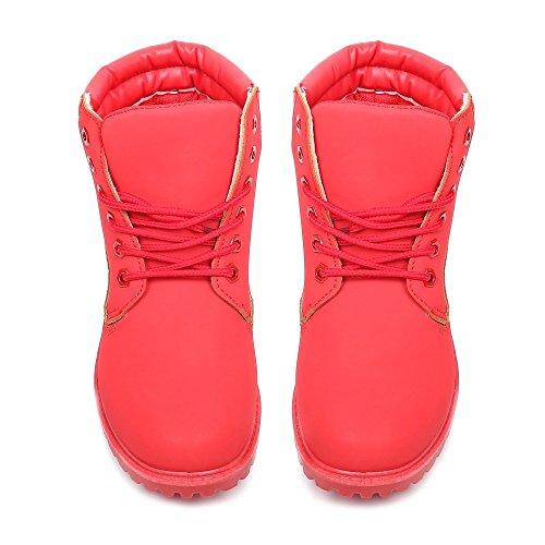 Ideal Shoes - Bottines style randonnée Calypso Rouge