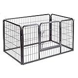 zoomundo Parc Enclos pour Chiens Métal pour Chiots Animaux Grillage Rongeur Petit avec Porte 4 Panneaux