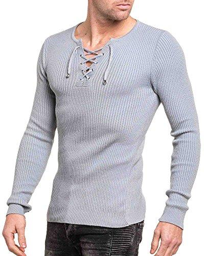 BLZ jeans - Man Pullover grau mit V-Ausschnitt Tight End Grau