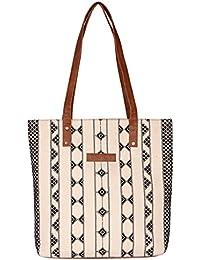 Kalamargam Collective Desert Weave & Vegan Leather Tote Bag (Multi-Coloured, KC-TB37)