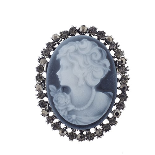 Lux Accessories Lux Zubehör Antik Vintage Blau Cameo Brosche brüniert Silber Maschine Steine