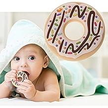 qiman Donut silicona Mordedores infantil Enfermedades colgante collar sin BPA DIY Baby Masticación Juguete