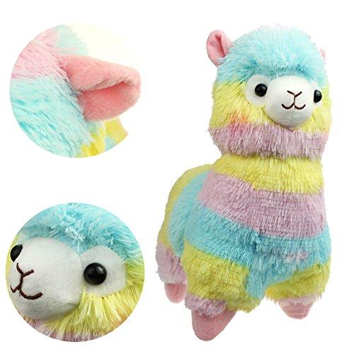"""KOSBON 14 \"""" Regenbogen Plüsch Alpaka, niedliches weiches angefülltes Tier-Spielzeug, beste Geschenke für Kinder."""