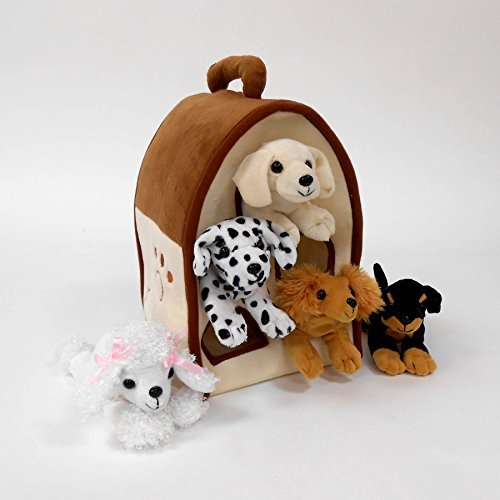 Plush Dog House -Five (5) Stuffed Animal Dogs (Dalmation, Yellow Lab, Rottweiler, Poodle, Cocker Spaniel) in Play Dog House Carrying House by Unipak -