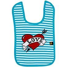 Rockabye-del bebé babero redondo de tela de amor CORAZON babero redondo de tela de (negro y azul/blanco y negro, uno de los tamaño)