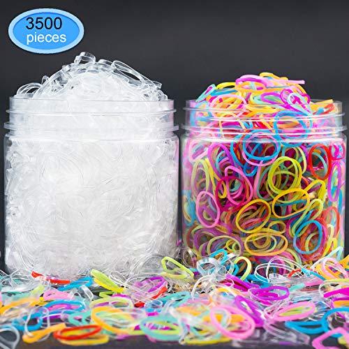 EAONE Kleine elastische Haarbänder 3500 Stück - 1500pcs Clear Hair Gummibänder 2000pcs Candy...