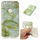 Google Pixel Marble Case Cover, Cozy Hut Soft Back Cover for Google Pixel Silicone Case Ultra Thin Anti-Scratch Shock Proof Silicone Rubber TPU Bumper Protective Back Case Cover with Cool Marble Stone Print Pattern for Google Pixel - Green marble