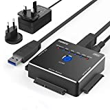 FIDECO USB IDE o SATA Adaptador, Adaptador de Disco Duro de Aluminio USB 3.0 para 2,5/3,5 Pulgadas SATA HDD/SSD & 3,5 Pulgadas IDE HDD, Apoyo Fuera de Línea clon