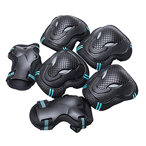 Doubleer Draussen Sport Knie Pads Ellbogen Pads Handgelenk Wachen einstellen Schutz Ausrüstung für Skateboarding Eislaufen Radfahren (Wachen Für Schlittschuhe)