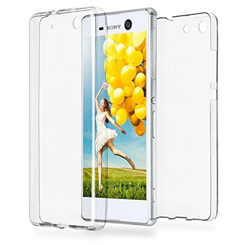 Double Case für Sony Xperia M5 | Silikon Hülle Transparent Beidseitiger Schutz | Dünne 360° Full Handy Tasche von OneFlow | Back Cover in Farblos