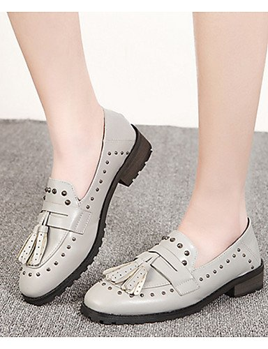 ZQ hug Scarpe Donna-Stringate-Tempo libero / Casual-Comoda / Punta arrotondata-Quadrato-Finta pelle-Nero / Grigio , gray-us8 / eu39 / uk6 / cn39 , gray-us8 / eu39 / uk6 / cn39 gray-us8 / eu39 / uk6 / cn39