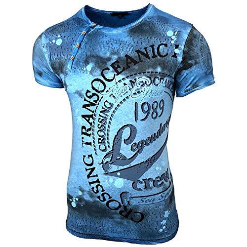 Herren Used Look Rundhals T-Shirt Kurzarm Hemd Slim Fit Design Fashion 15045, Größe:L, Farbe:Petrol