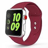Zolion Band für Apple Watch Series 3 Bands, Weiche Silikon Ersatz Sport Armband für Apple Watch Band 38mm 2017 Serie 3 Serie 2 Serie 1 (S/M, Rose Red)