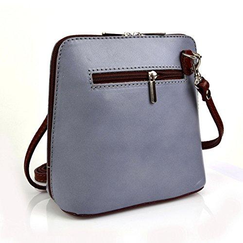 f3078814ed25b Vera Pelle Handtaschen Italien Echt Leder Schultertasche Frauen Damen  Tasche Handtasche Ital Bag Grau Braun Plain ...