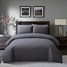 Sleepdown Soft Hotel Quality 250 THREAD COUNT POLYCOTTON Satin Stripe Duvet Cover Set With Pillowcases in Grey Colour(Single)