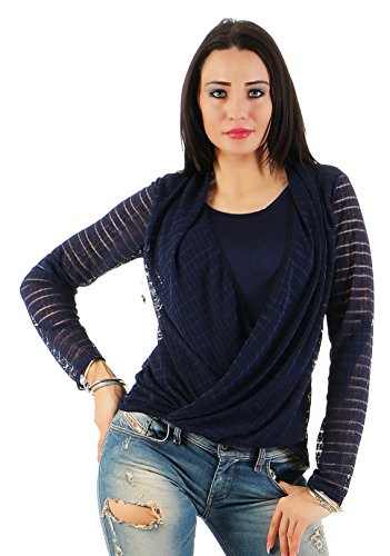 Mr. Shine® – Damen Bluse meliert New Mode Langarmshirts Fashion Tunika in den Größen S-XXL Navy Blau